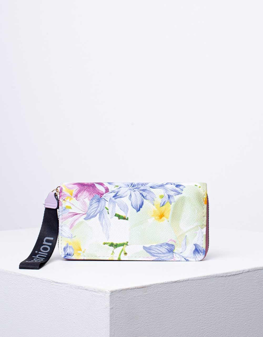 Εικόνα από Γυναικείο πορτοφόλι σε συνδυασμό χρωμάτων με λουλούδια Μπορντώ