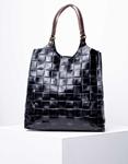 Εικόνα από Γυναικεία τσάντα ώμου & χιαστί από γνήσιο δέρμα πλεκτό με εσωτερικό τσαντάκι Μαύρο