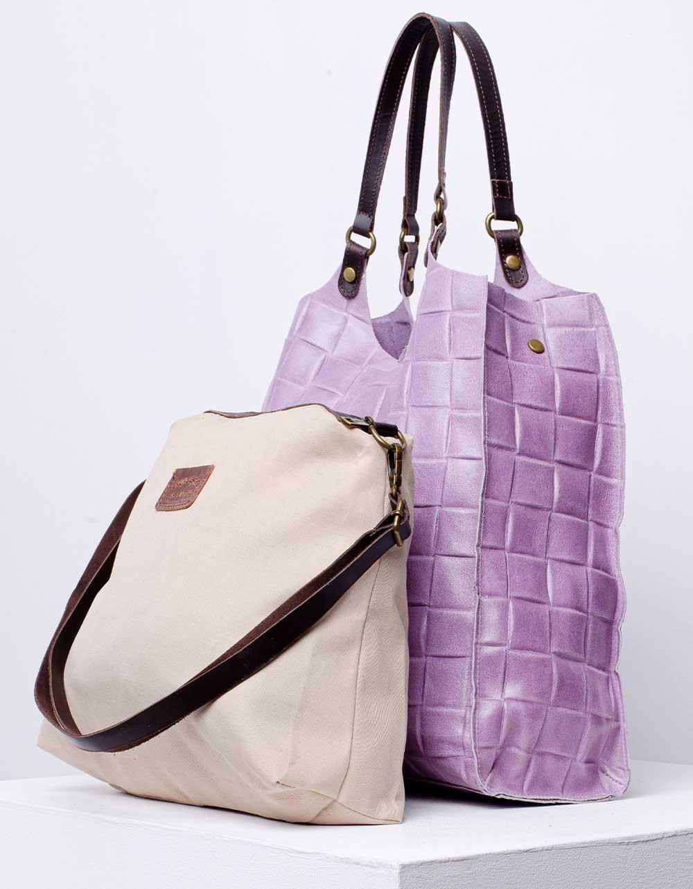 Εικόνα από Γυναικεία τσάντα ώμου & χιαστί από γνήσιο δέρμα πλεκτό με εσωτερικό τσαντάκι Μωβ