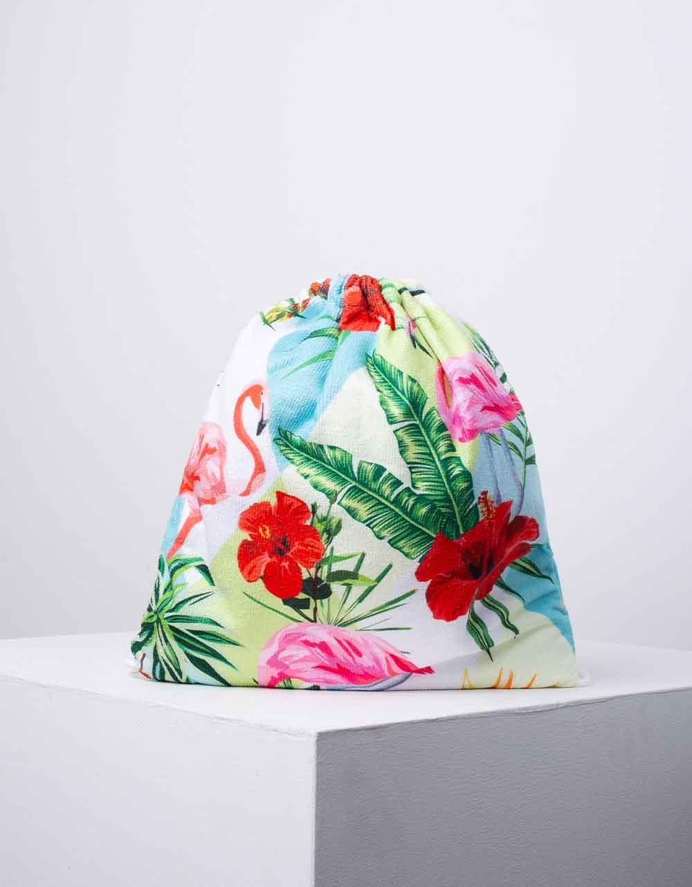 Εικόνα από Πετσέτα θαλάσσης backpack με σχέδιο flamingo Κόκκινο