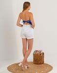 Εικόνα από Γυναικείο τοπ στράπλες σατέν με δέσιμο Μπλε