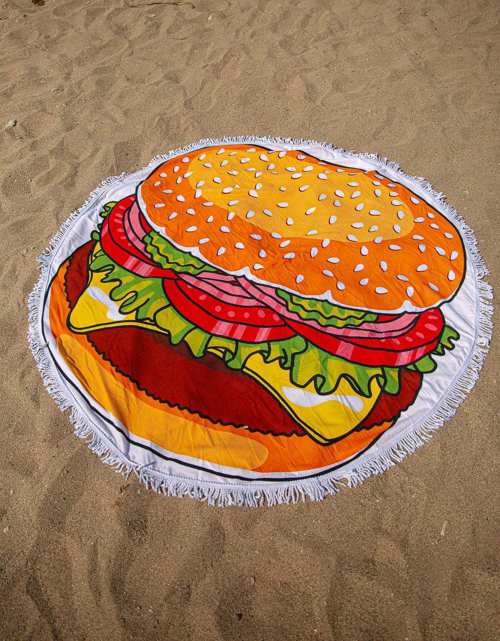 Εικόνα από Γυναικεία πετσέτα θαλάσσης με σχέδιο burger Πορτοκαλί