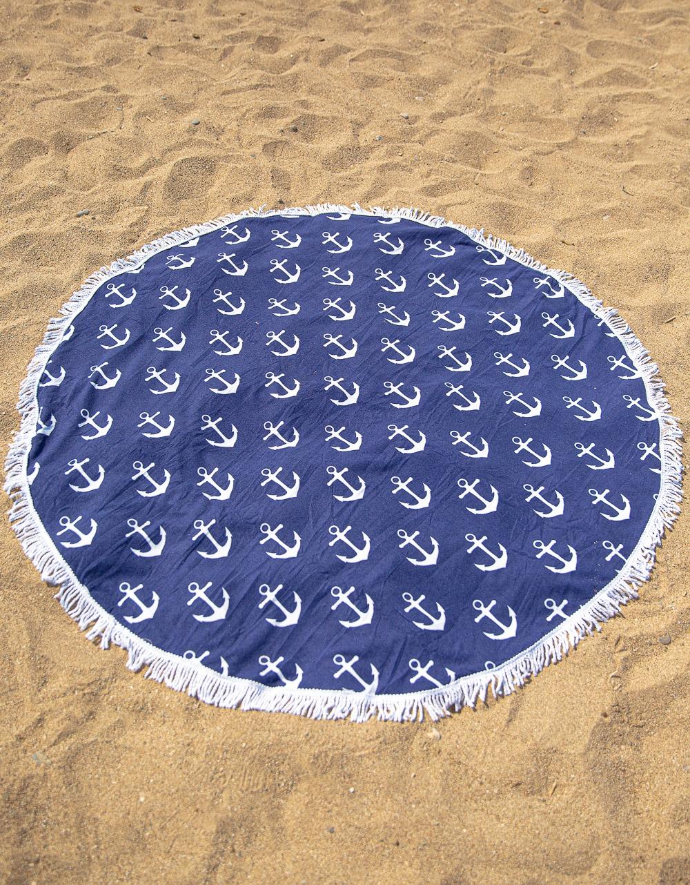Εικόνα από Γυναικεία πετσέτα θαλάσσης με σχέδιο άγκυρες Navy