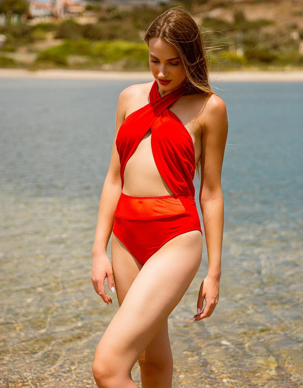 Εικόνα από Γυναικείο μαγιό ολόσωμο με χιαστί λαιμό Κόκκινο