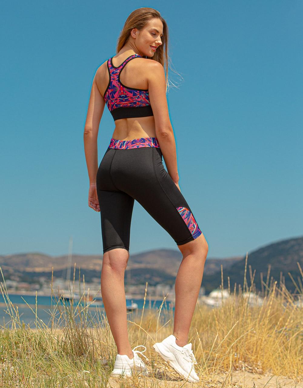 Εικόνα από Γυναικείο σετ κολάν biker & crop top Multi