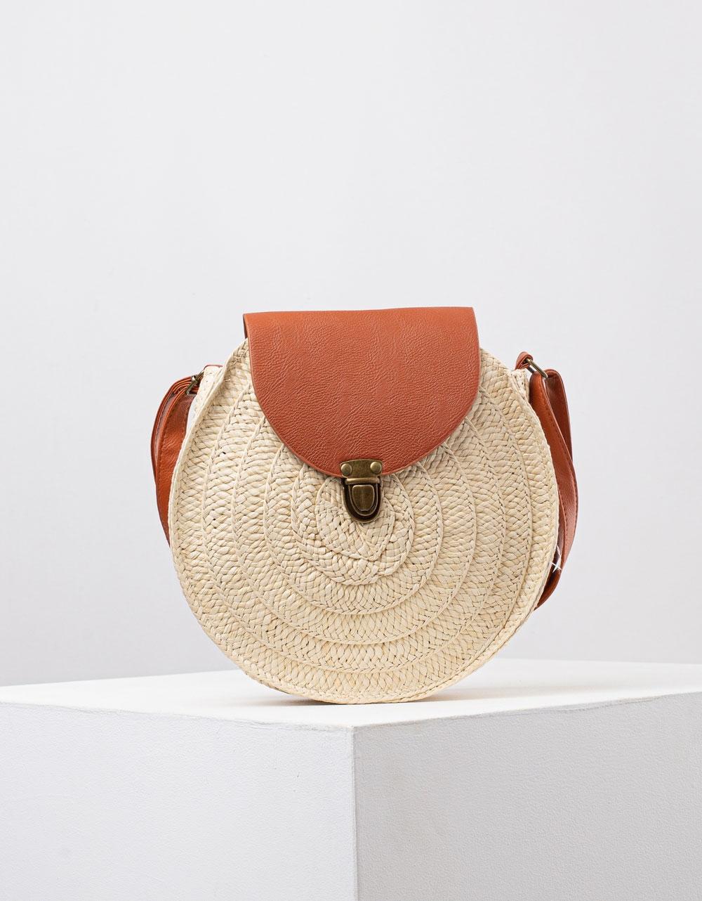 Εικόνα από Γυναικεία ψάθινη τσάντα ώμου & χιαστί σε συνδυασμό υλικών Μπεζ