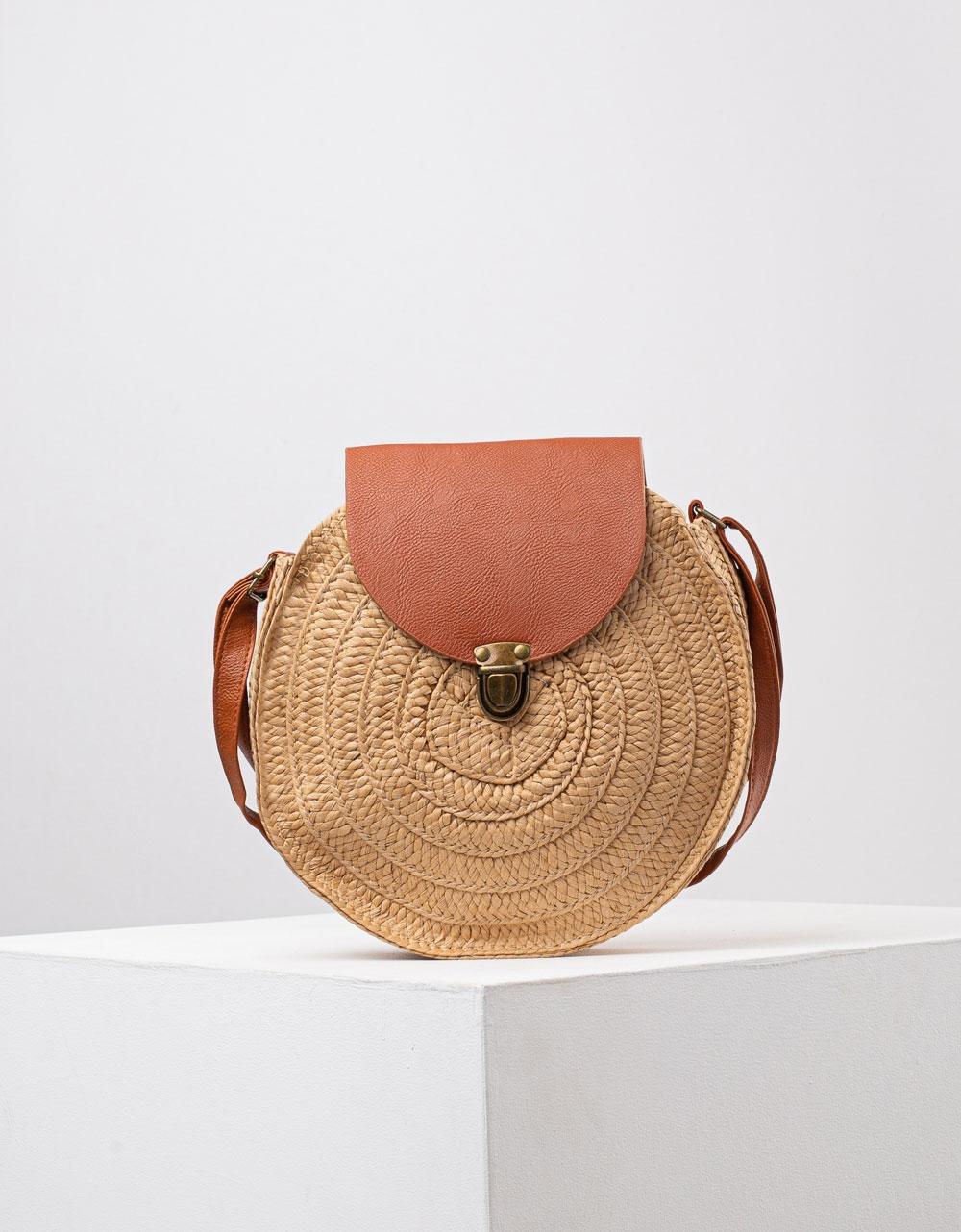 Εικόνα από Γυναικεία ψάθινη τσάντα ώμου & χιαστί σε συνδυασμό υλικών Πούρο