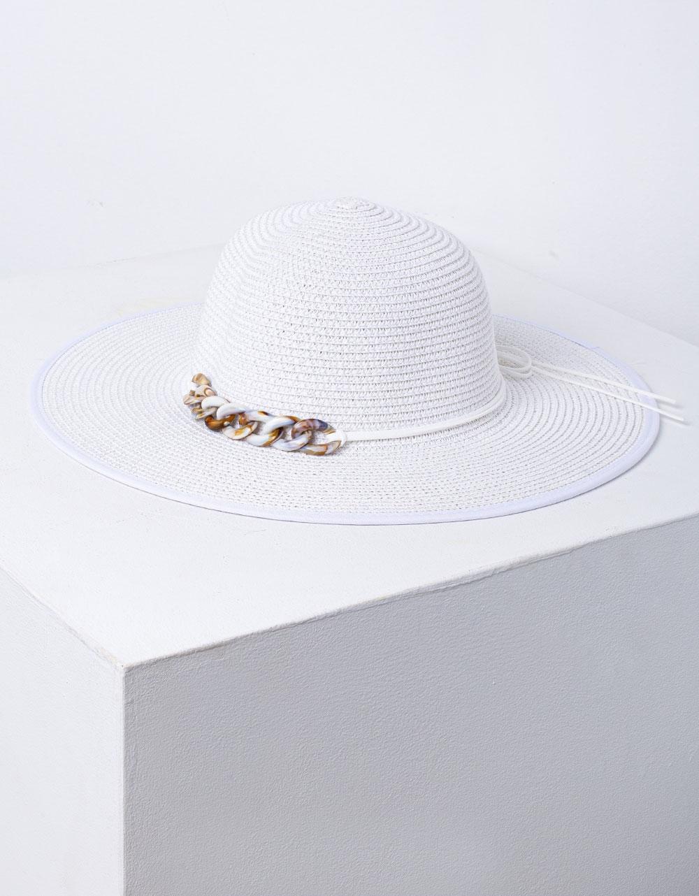 Εικόνα από Γυναικείο καπέλο ψάθινο με μεταλλική λεπτομέρεια Λευκό