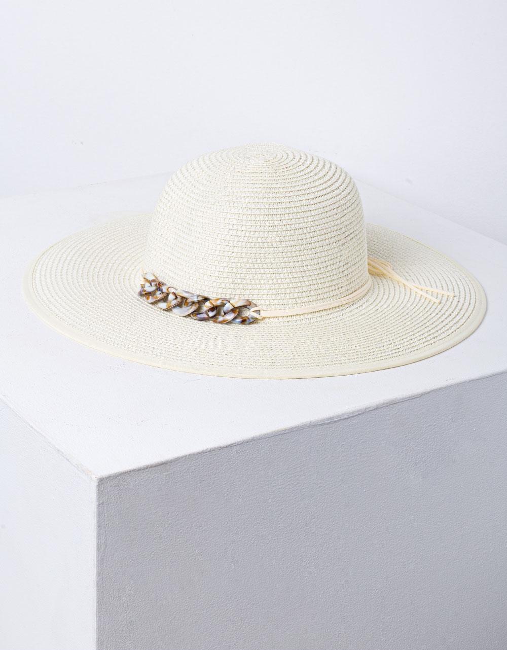 Εικόνα από Γυναικείο καπέλο ψάθινο με μεταλλική λεπτομέρεια Μπεζ