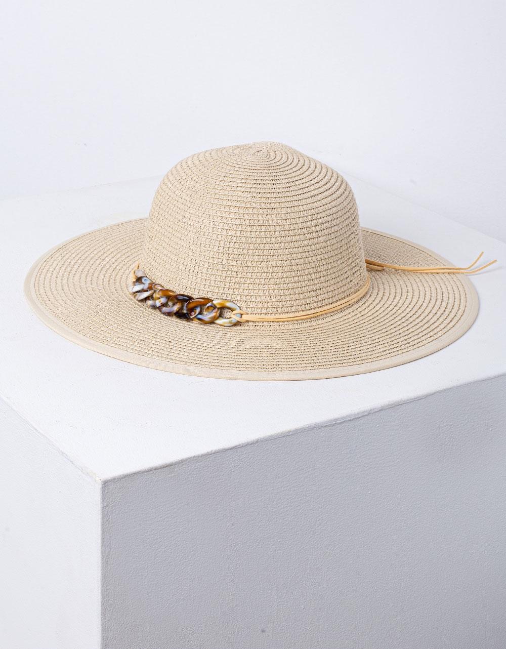 Εικόνα από Γυναικείο καπέλο ψάθινο με μεταλλική λεπτομέρεια Πούρο