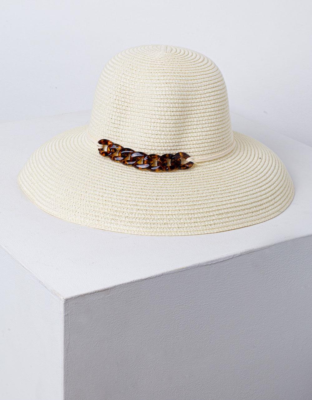 Εικόνα από Γυναικείο καπέλο ψάθινο με διακοσμητικούς κρίκους Μπεζ