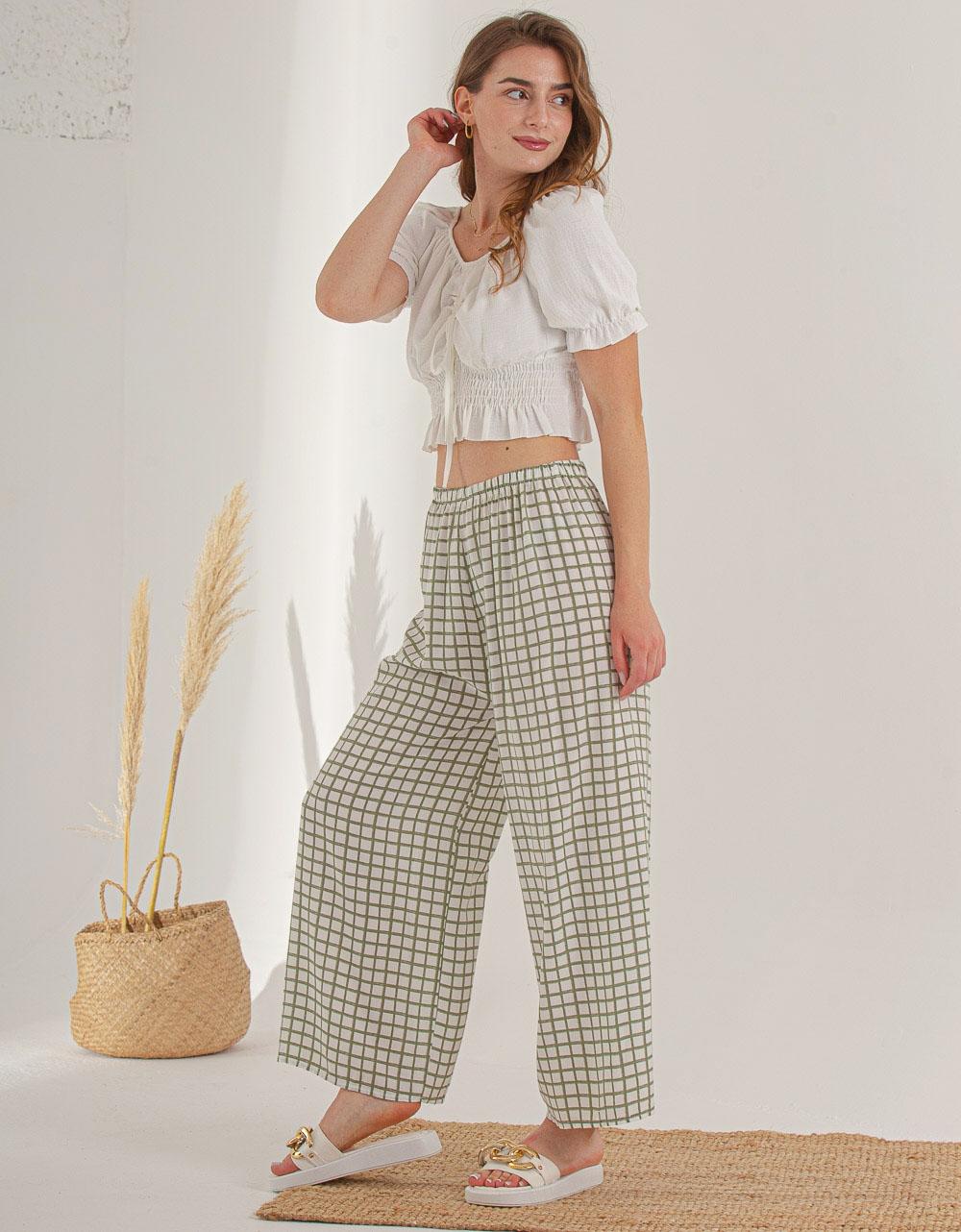 Εικόνα από Γυναικείο παντελόνι με φαρδιά πατζάκια Πράσινο