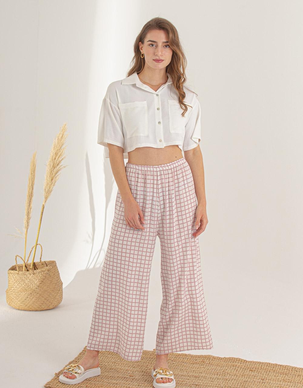 Εικόνα από Γυναικείο πουκάμισο crop Λευκό