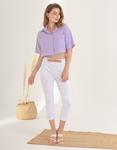 Εικόνα από Γυναικείο πουκάμισο crop Λιλά