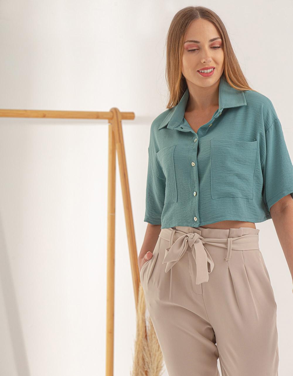 Εικόνα από Γυναικείο πουκάμισο crop Πράσινο