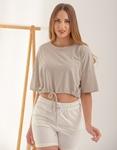 Εικόνα από Γυναικεία μπλούζα cropped με λάστιχο στην μέση Γκρι