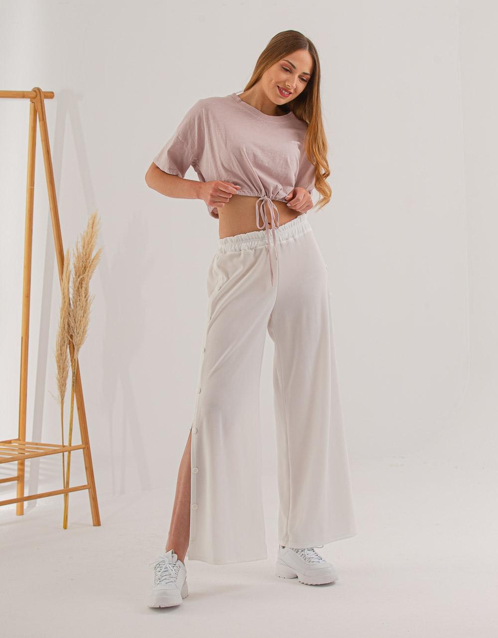 Εικόνα από Γυναικεία μπλούζα cropped με λάστιχο στην μέση Ροζ