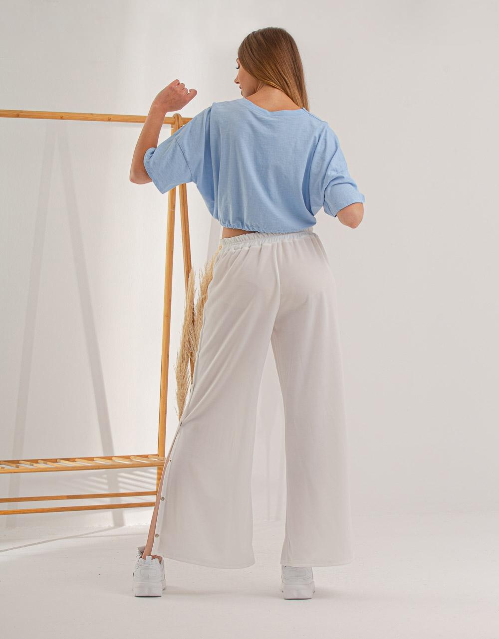 Εικόνα από Γυναικεία μπλούζα cropped με λάστιχο στην μέση Σιέλ