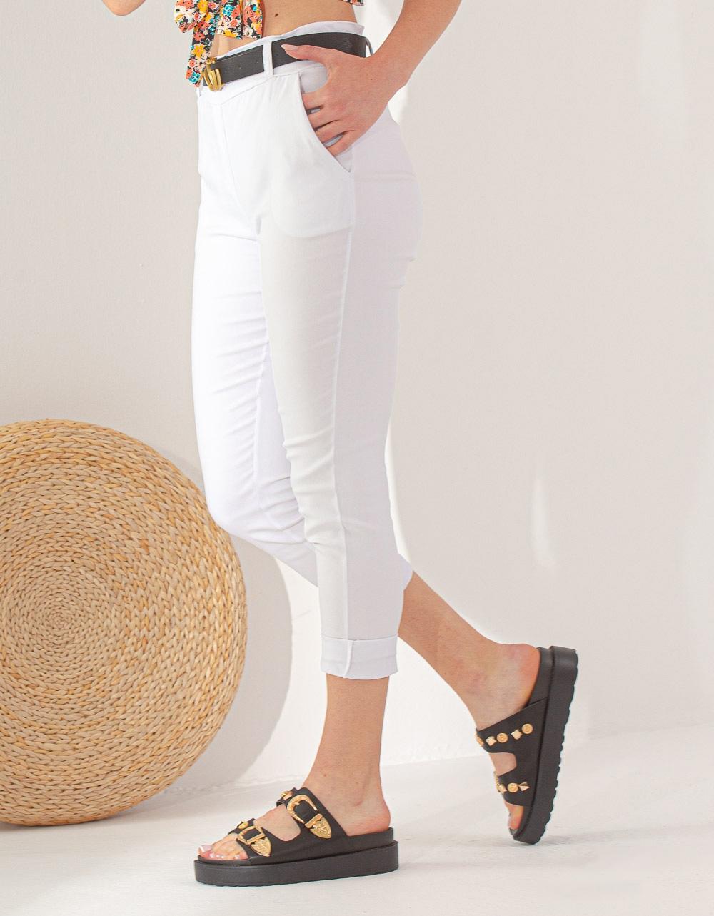 Εικόνα από Γυναικείο παντελόνι σε ίσια γραμμή Λευκό