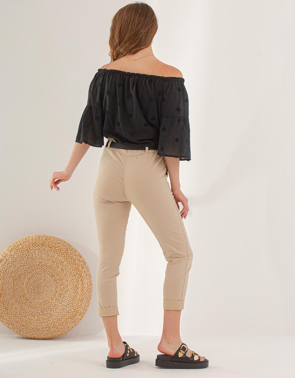 Εικόνα από Γυναικείο παντελόνι σε ίσια γραμμή Μπεζ