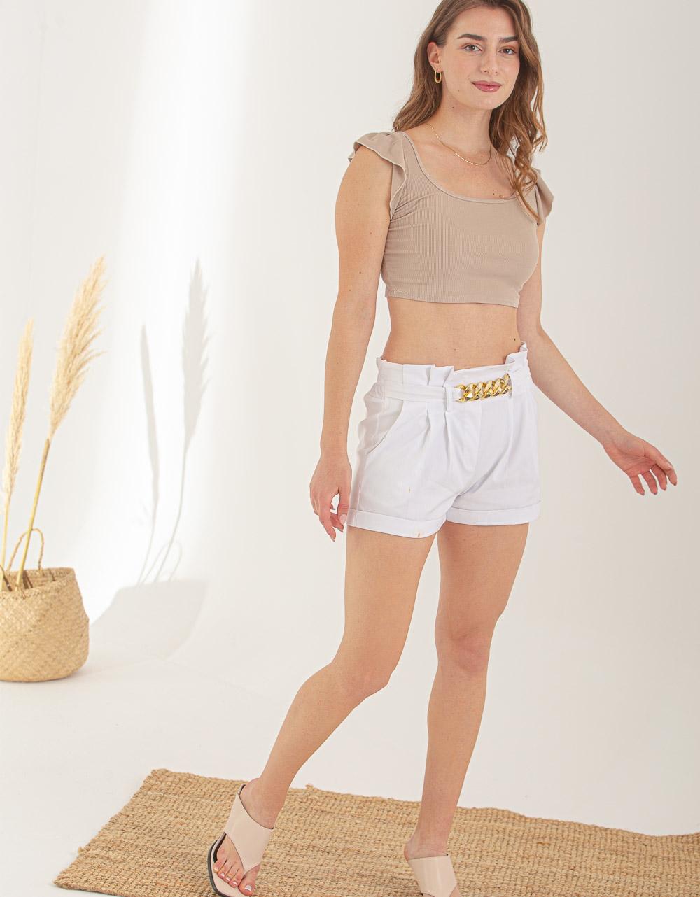 Εικόνα από Γυναικείο σορτσάκι με αλυσίδα Λευκό