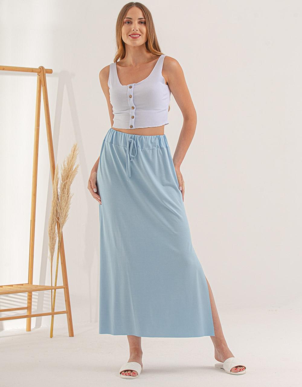 Εικόνα από Γυναικεία φούστα μακριά με σκίσιμο στο πλάι Σιέλ