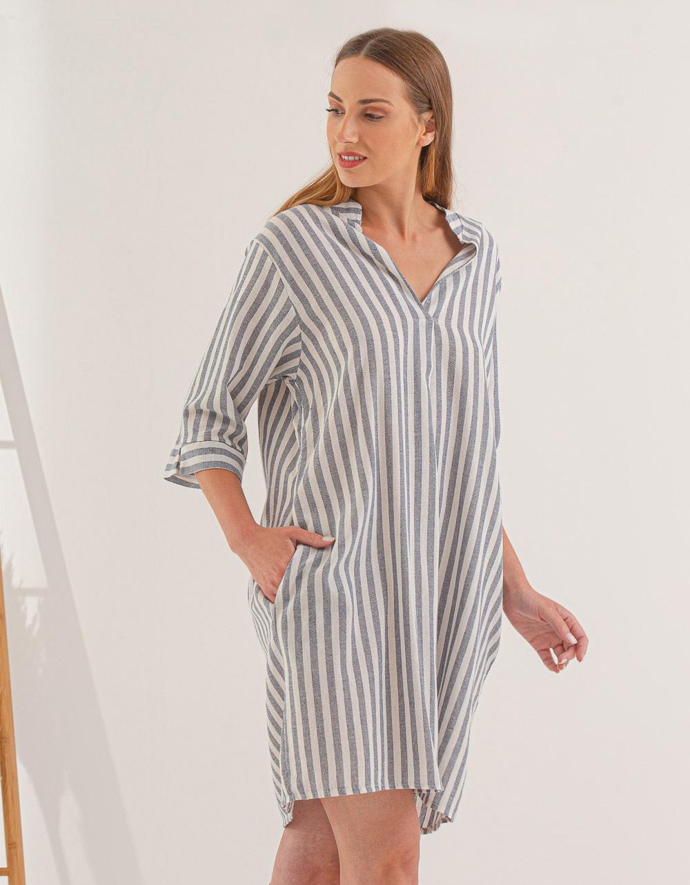 Εικόνα από Γυναικείο φόρεμα με ρίγες Γκρι