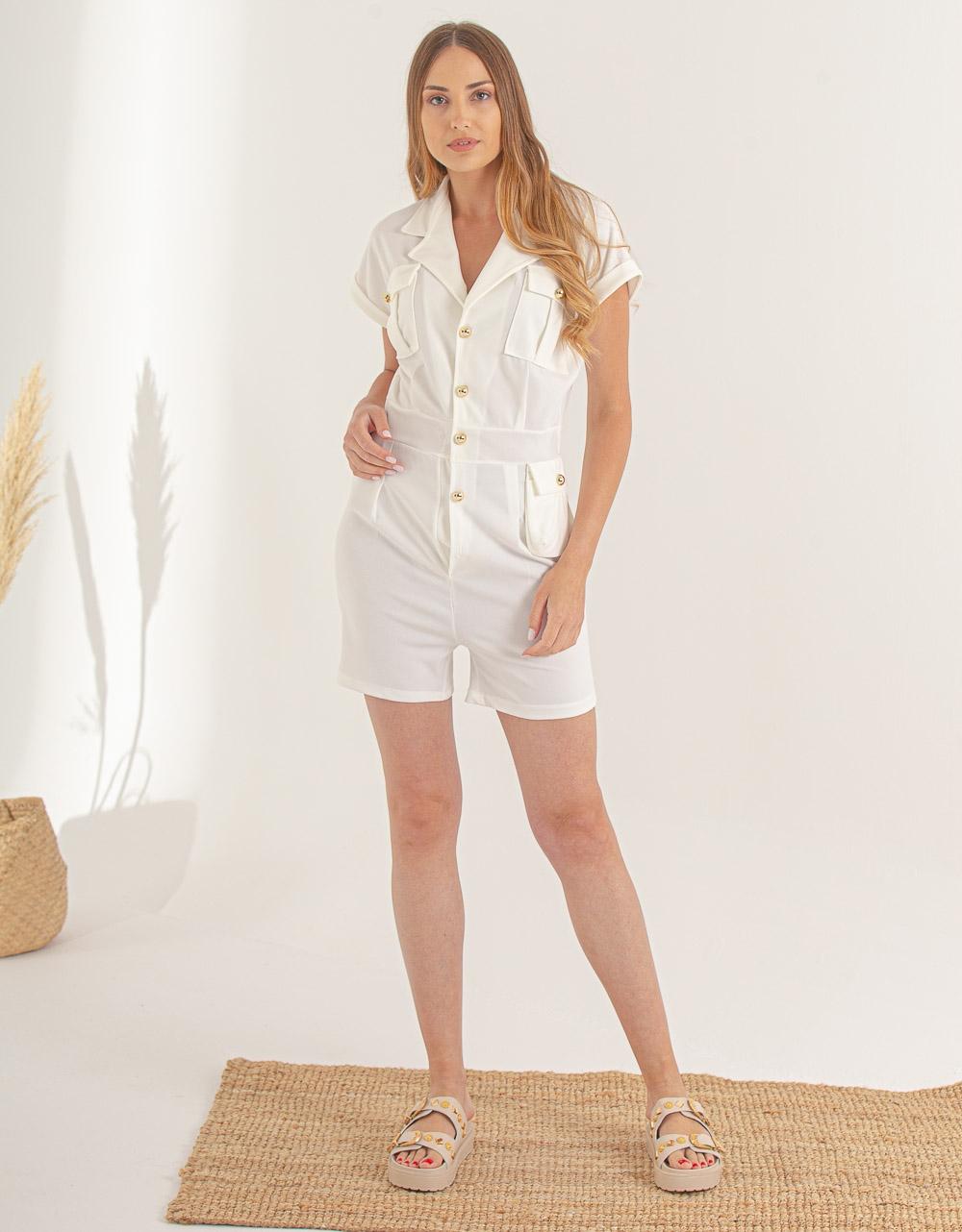 Εικόνα από Γυναικείο ολόσωμο σορτς με κουμπιά Λευκό