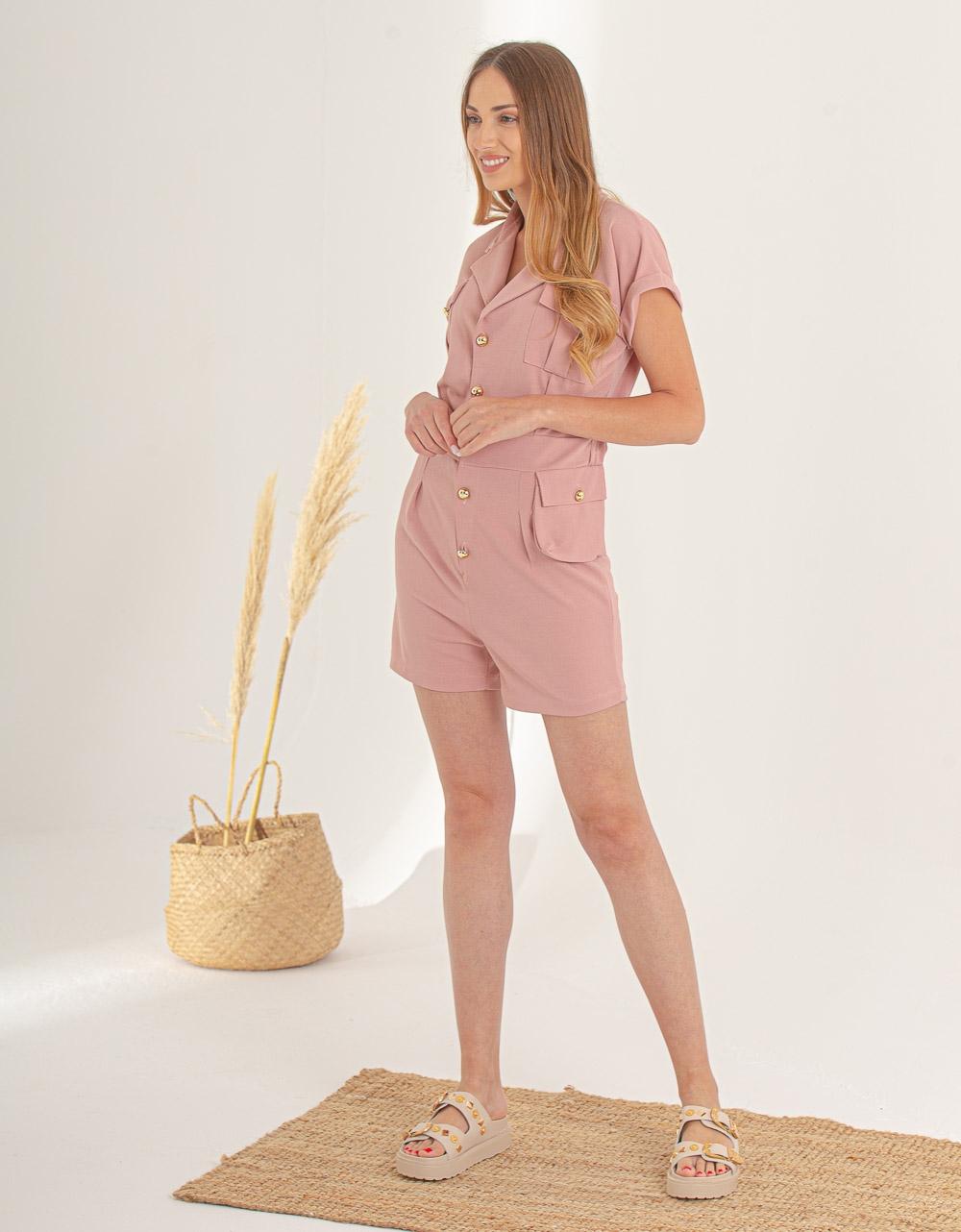 Εικόνα από Γυναικείο ολόσωμο σορτς με κουμπιά Ροζ