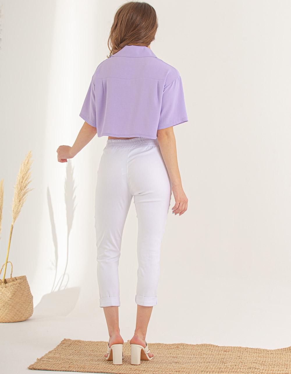 Εικόνα από Γυναικείο παντελόνι σε ίσια γραμμή με αλυσίδα Λευκό