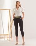 Εικόνα από Γυναικείο παντελόνι σε ίσια γραμμή με αλυσίδα Μαύρο