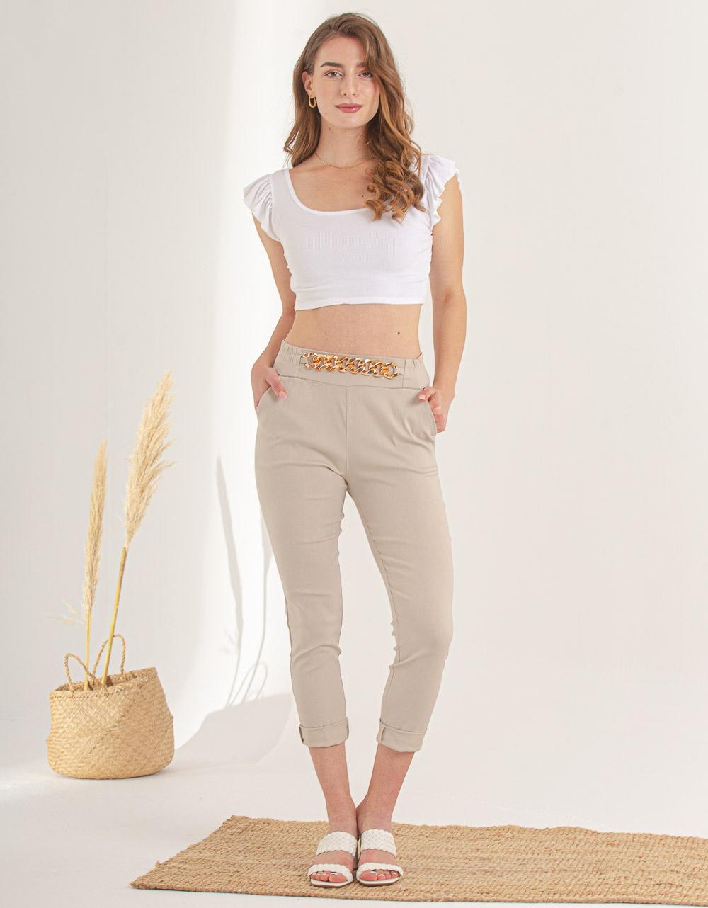 Εικόνα από Γυναικείο παντελόνι σε ίσια γραμμή με αλυσίδα Μπεζ