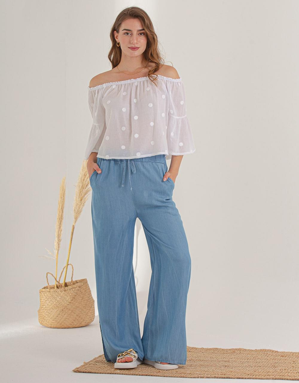 Εικόνα από  Γυναικείο παντελόνι με άνοιγμα στο μπατζάκι Μπλε