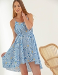 Εικόνα από Γυναικείο φόρεμα floral με ανοιχτή πλάτη Σιέλ