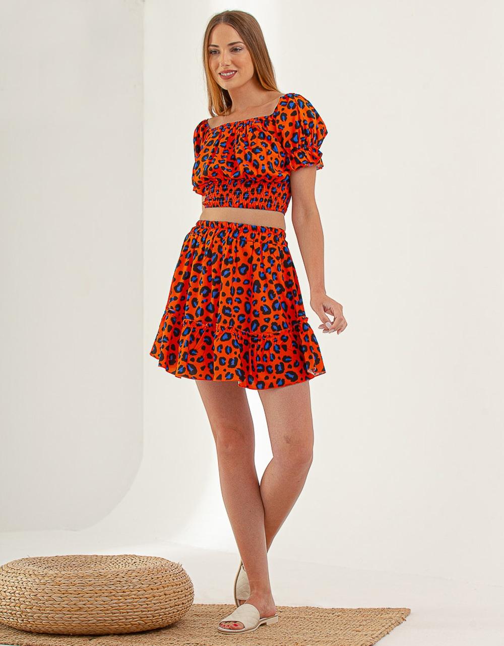 Εικόνα από Γυναικεία σετ φούστα & crop top Πορτοκαλί