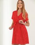 Εικόνα από Γυναικείο φόρεμα με πουά σχέδιο Κόκκινο