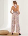 Εικόνα από Γυναικεία ολόσωμη φόρμα χιαστί με ανοιχτή πλάτη Λευκό/Μωβ