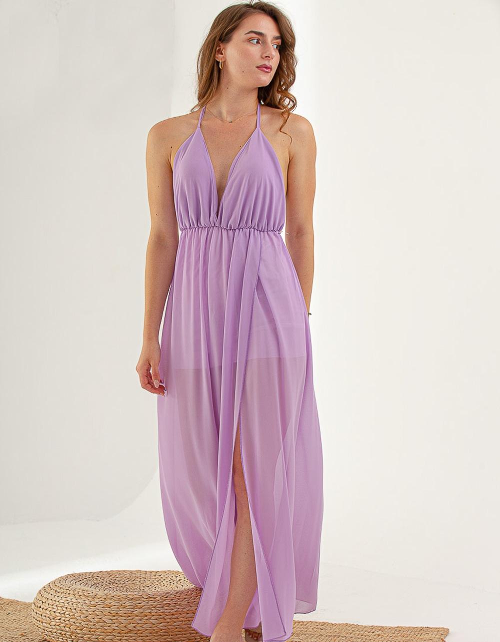 Εικόνα από Γυναικείο φορεμα με σκίσιμο στο πλάι Λιλά