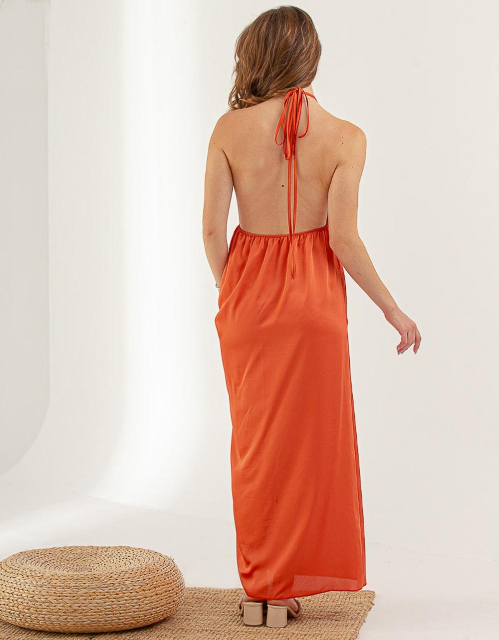 Εικόνα από Γυναικείο φορεμα με σκίσιμο στο πλάι Σομόν