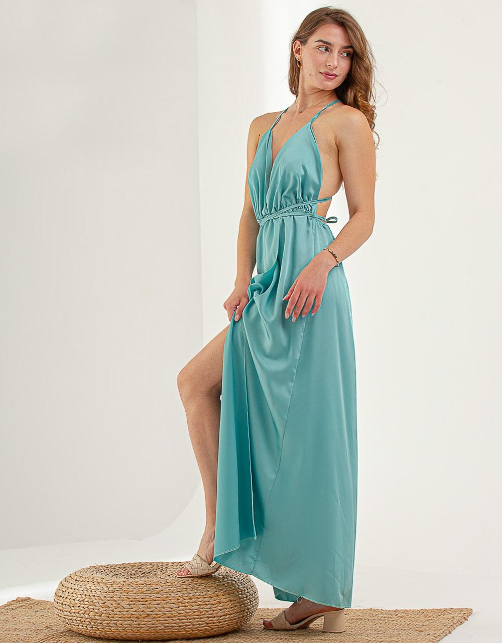 Εικόνα από Γυναικείο φορεμα με σκίσιμο στο πλάι Τιρκουάζ