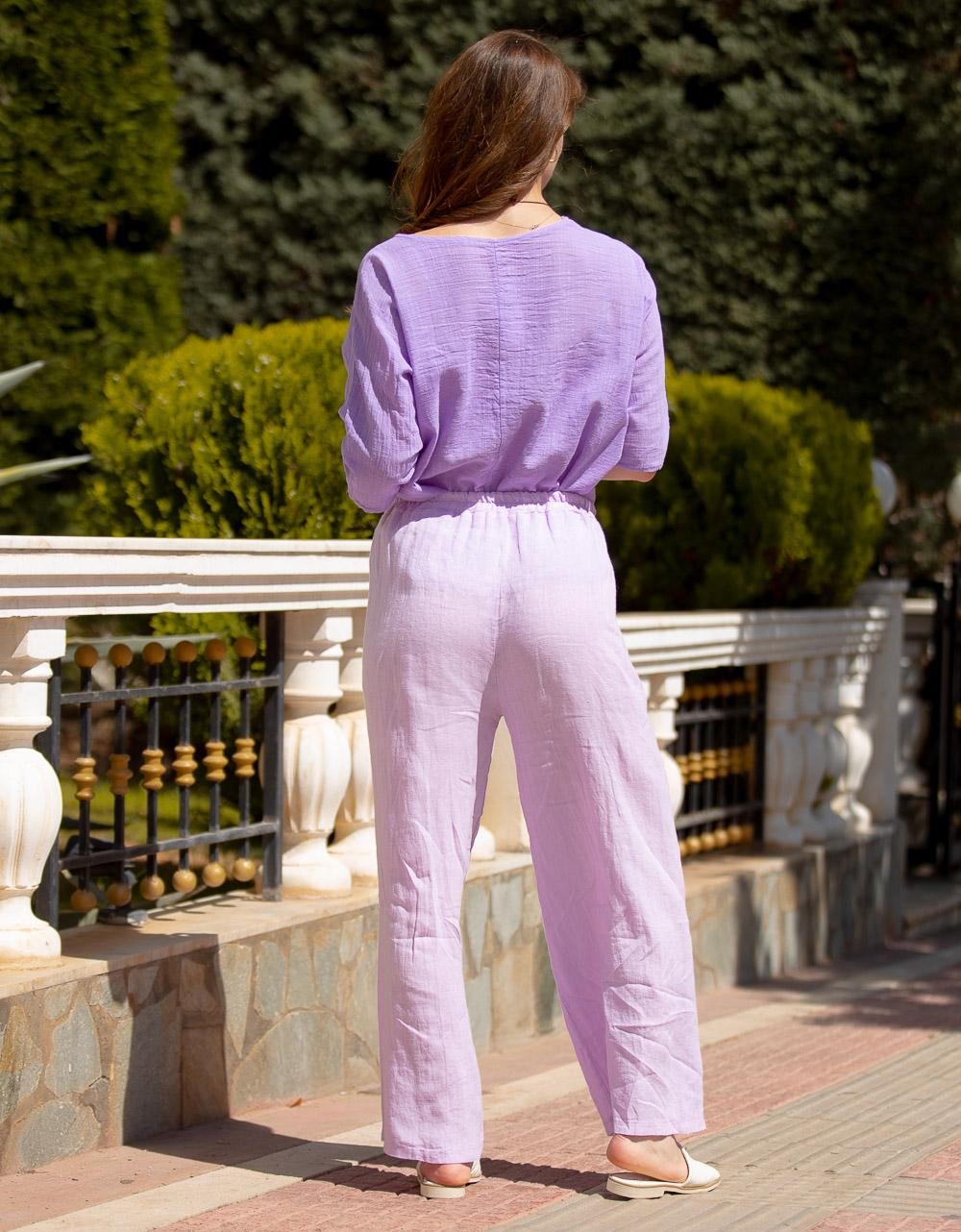 Εικόνα από Γυναικείο παντελόνι με λάστιχο στη μέση Λιλά