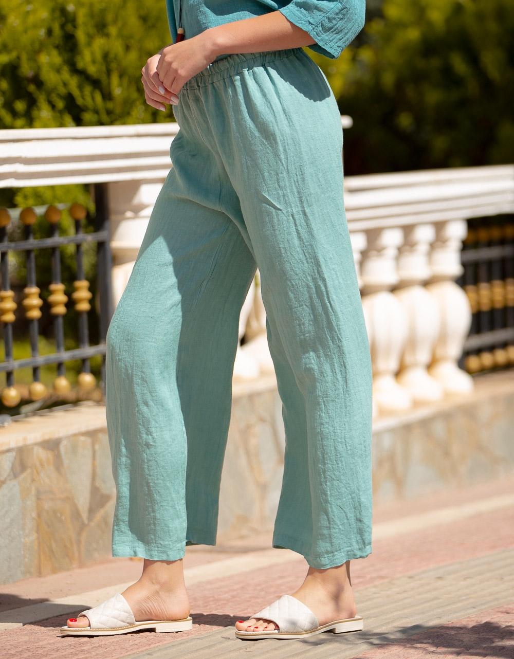 Εικόνα από Γυναικείο παντελόνι με λάστιχο στη μέση Πράσινο