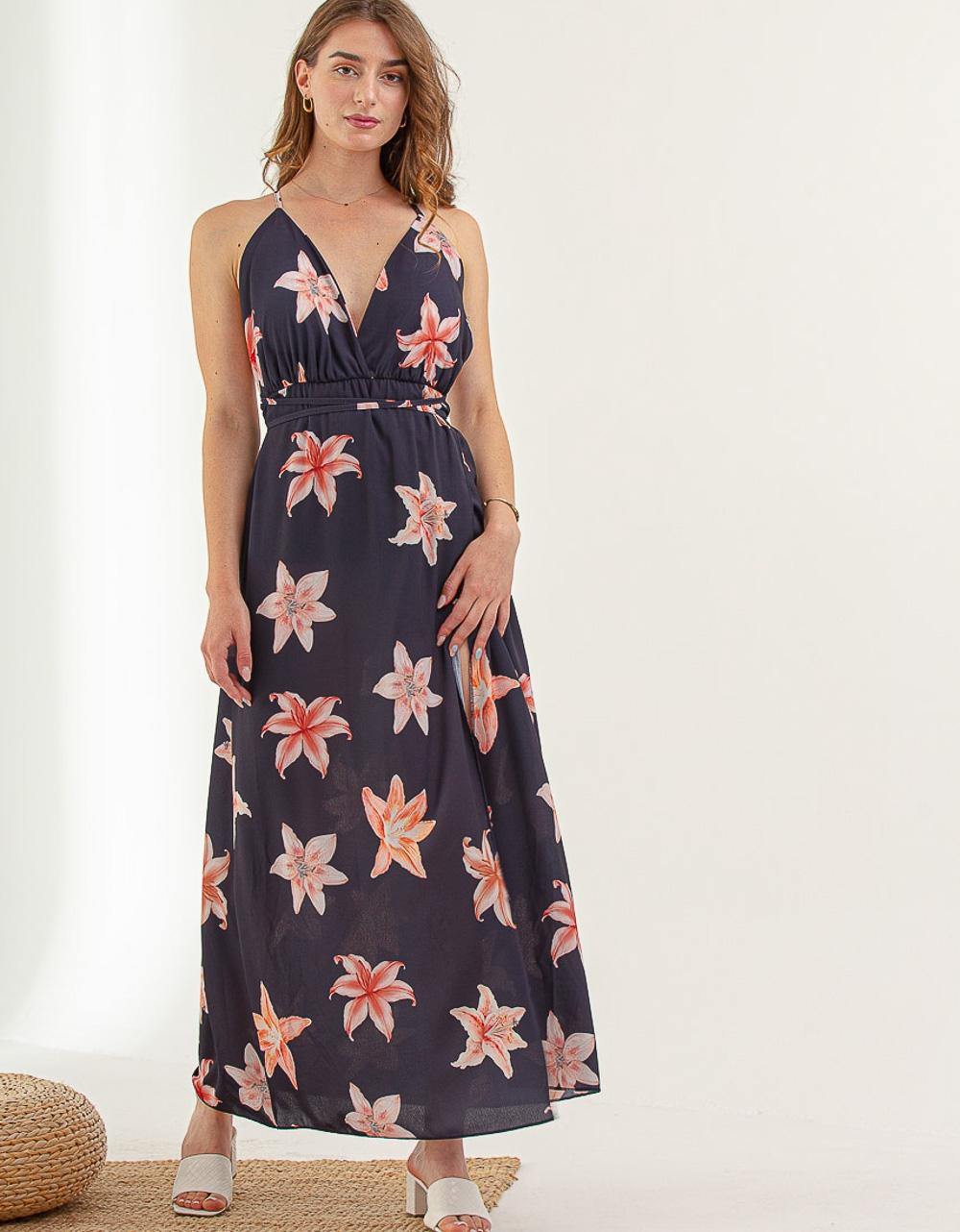 Εικόνα από Γυναικείο φόρεμα με ανοίγματα Navy