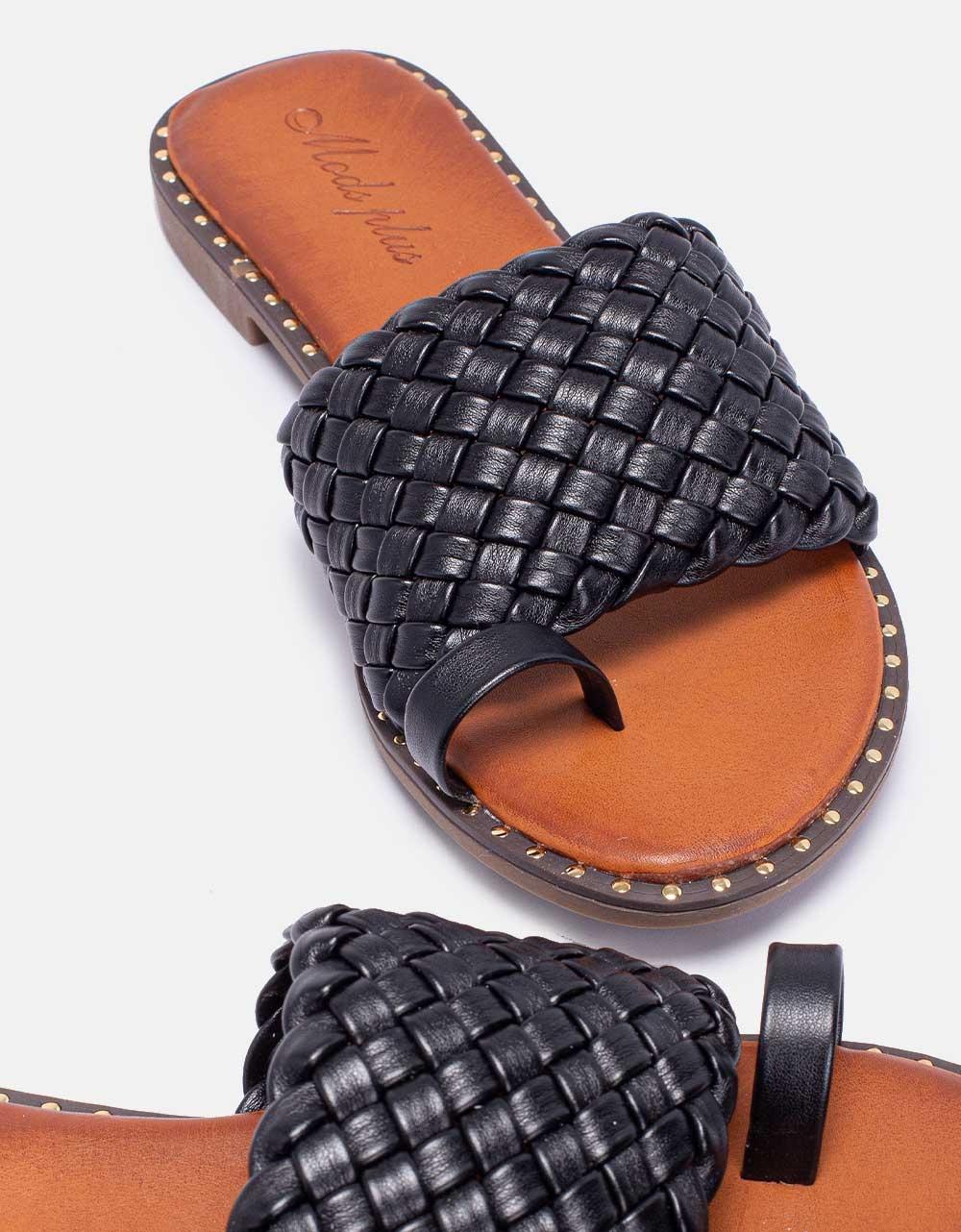 Εικόνα από Γυναικεία σανδάλια με πλεκτή φάσα Μαύρο