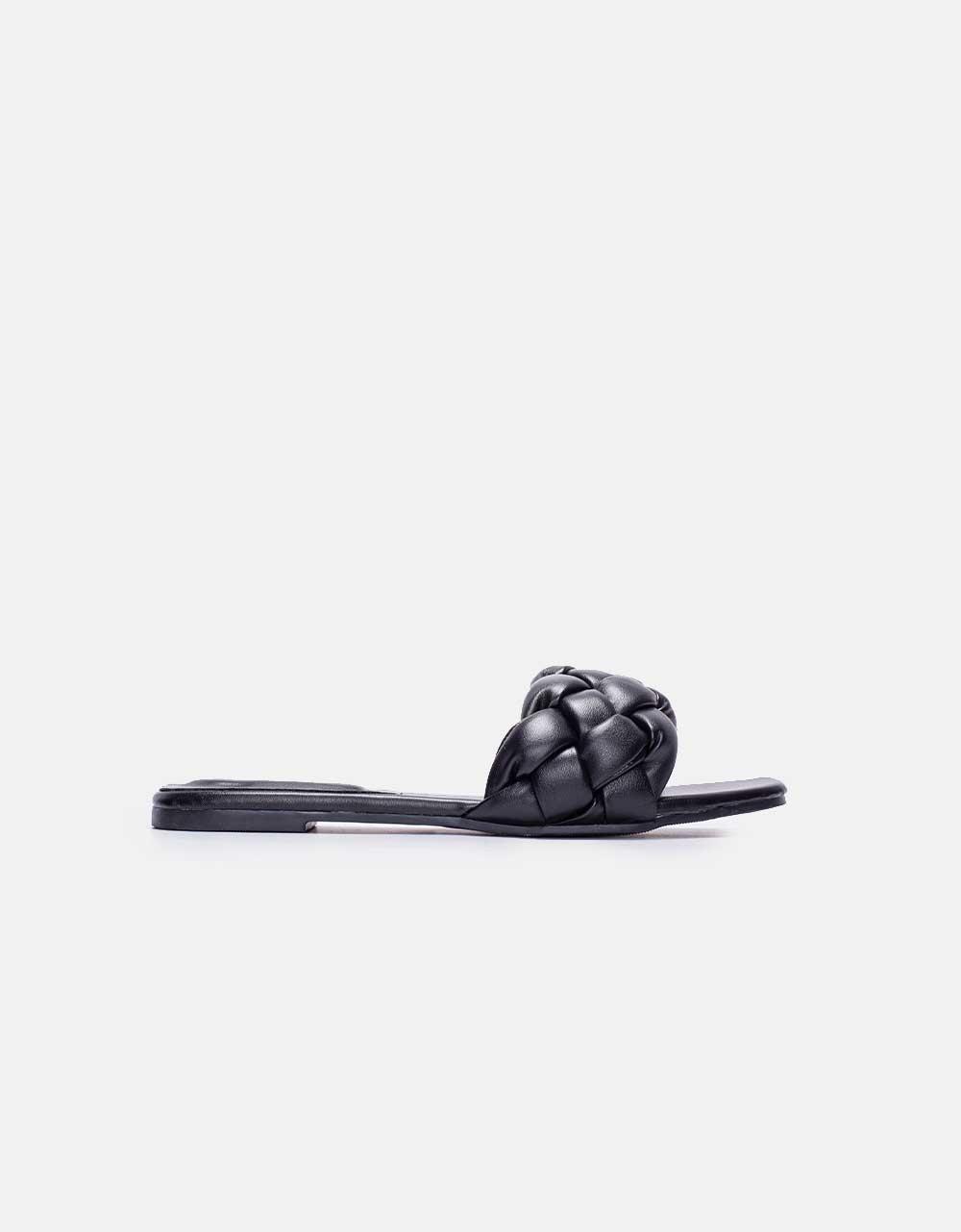 Εικόνα από Γυναικεία σανδάλια με πλεκτό σχέδιο Μαύρο