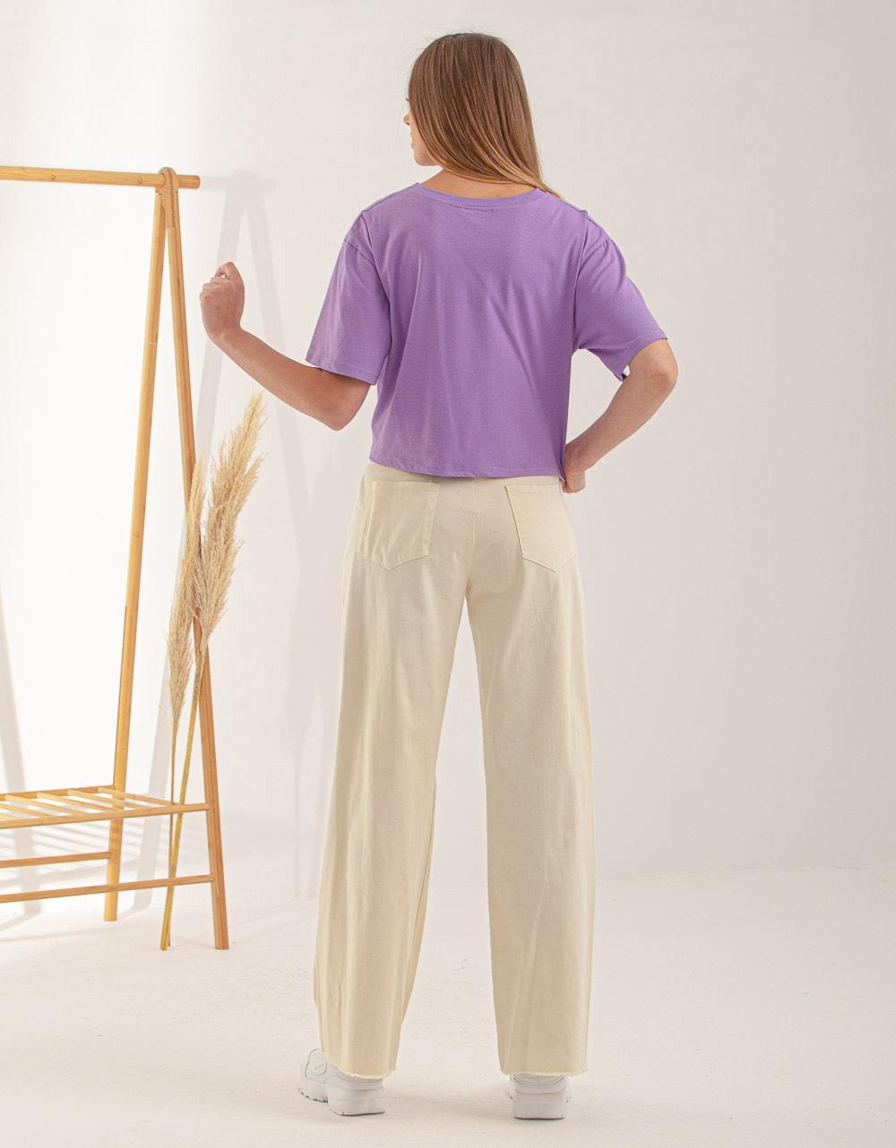Εικόνα από Γυναικεία κοντομάνικη μπλούζα basic Μωβ