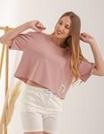 Εικόνα από Γυναικεία κοντομάνικη μπλούζα basic Σομόν