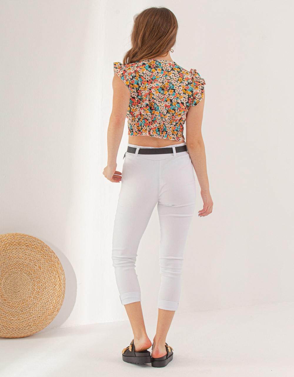 Εικόνα από Γυναικεία μπλούζα cropped φλοράλ με δέσιμο Μαύρο