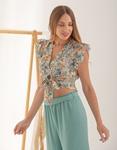 Εικόνα από Γυναικεία μπλούζα cropped φλοράλ με δέσιμο Σιέλ