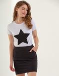 Εικόνα από Γυναικεία σετ φούστα & μπλουζάκι με αστέρι Μαύρο